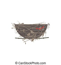 Bird nest icon isolated - Bird nest icon. Cute Comic flat...