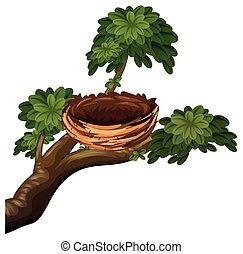 Bird nest on branches illustration
