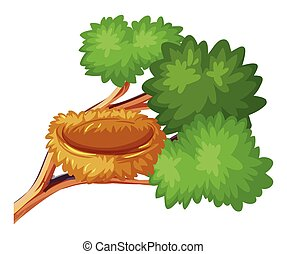 Bird nest on the branch illustration