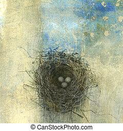 Bird Nest - Bird\'s nest with three eggs. Photo based...