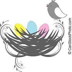 bird nest - vector bird nest with eggs