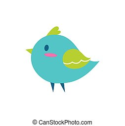 Bird of Blue Color Small, Vector Illustration