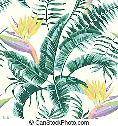 Bird of paradise leaves blue color tropical seamless pattern