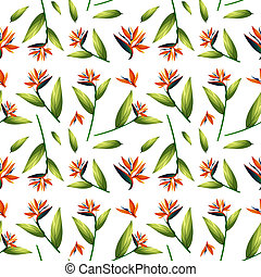 Bird of paradise seamless pattern