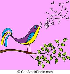 Bird on a branch singing songs, vector