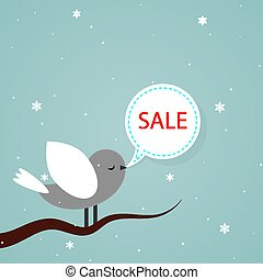 bird on a branch with a dialog box