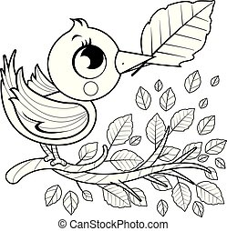 Bird on a branch with leaves. Vector black and white coloring page