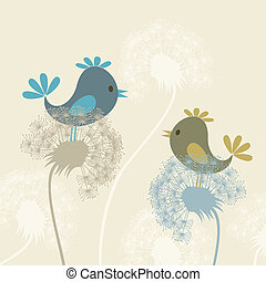 Bird on a dandelion - Two birdies sit on dandelions. A...