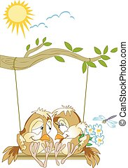 bird on a swing - The illustration shows a pair of lovebirds...