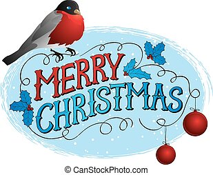Bird on a tree in winter. Christmas greeting card