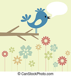 The blue birdie on a branch speaks. A vector illustration