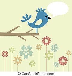 Bird on a tree4 - The blue birdie on a branch speaks. A...