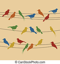 Birds sit on wires. A vector illustration