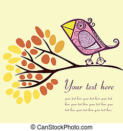 Bird on an autumn branch with place for your text.