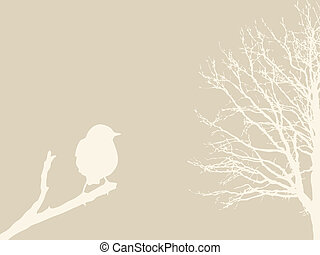 bird on branch on brown background, vector illustration