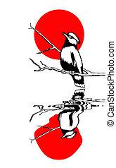 bird on branch silhouette