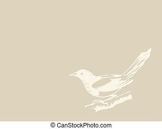 bird on brown background, vector illustration