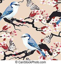 Bird on cherry branch seamless