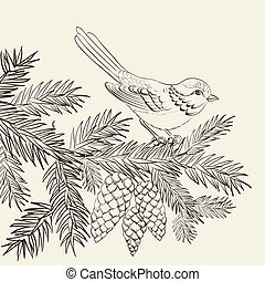 Bird on christmas fir and pinecone. Vector illustration.
