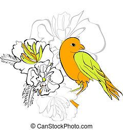 Bird on floral background