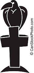 Bird on grave cross icon, simple style