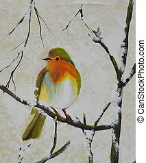 bird on the branch oil painting