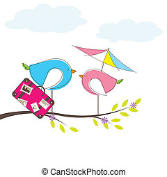 Bird on tree. Vector Illuatration
