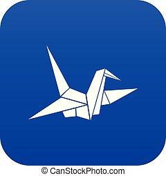 Bird origami icon digital blue