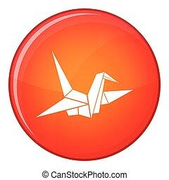 Bird origami icon, flat style