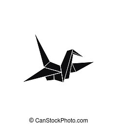 Bird origami icon, simple style