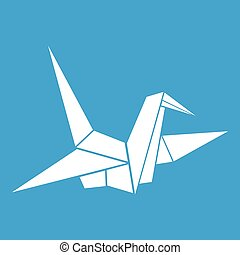Bird origami icon white