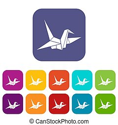 Bird origami icons set