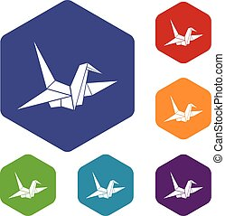 Bird origami icons set