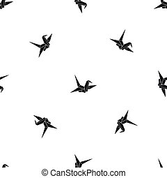 Bird origami pattern seamless black