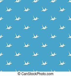 Bird origami pattern seamless blue