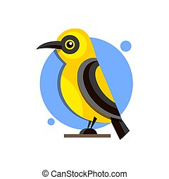 Bird Oriole on the branch flat style logo for design.