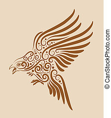 Flying bird drawing with floral ornament decoration. Use for t-shirt or any design you want.