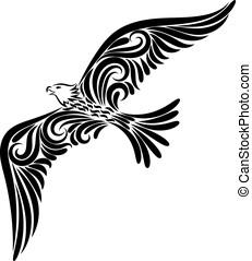 bird., orzeł, dekoracje, ornament., ilustracja, freedom., wizerunek, przelotny, kreska, odizolowany, obiekt, rysunek, stylizowany, tło., czarnoskóry, independence., biały, tattoo., twój, design.