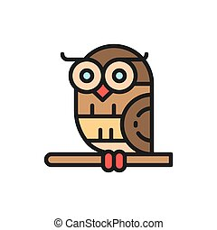 Bird, owl flat color icon. Isolated on white background