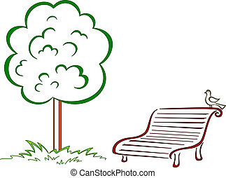 Bird, park bench, green tree