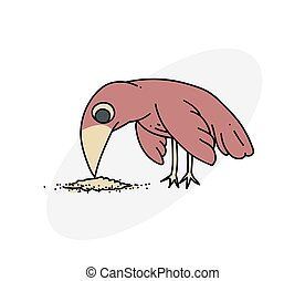 Bird pecking seeds cartoon hand drawn image. Original...