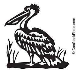 bird pelican - black vector illustration