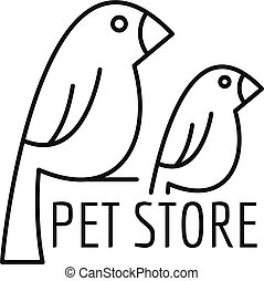 Bird pet store logo, outline style
