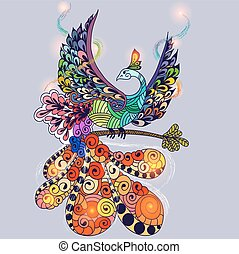 Bird Phoenix - Illustration of flying Phoenix Bird. Fire...