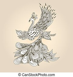 Bird Phoenix - Illustration of flying Phoenix Bird. Peacock...