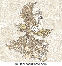 Bird Phoenix menndi - Illustration of flying Phoenix Bird....