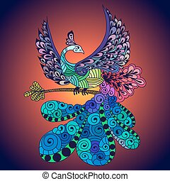 Bird Phoenix violet - Illustration of flying Phoenix Bird....