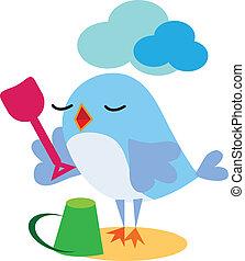 Bird playing with spade