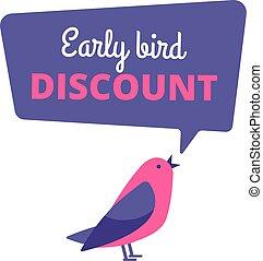 bird., pojem, banner., nabídnout, prodej, časný, rabat, vektor, ptáci, speciální