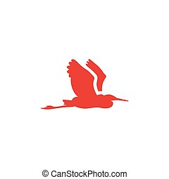 Bird Red Icon On White Background. Red Flat Style Vector Illustration.